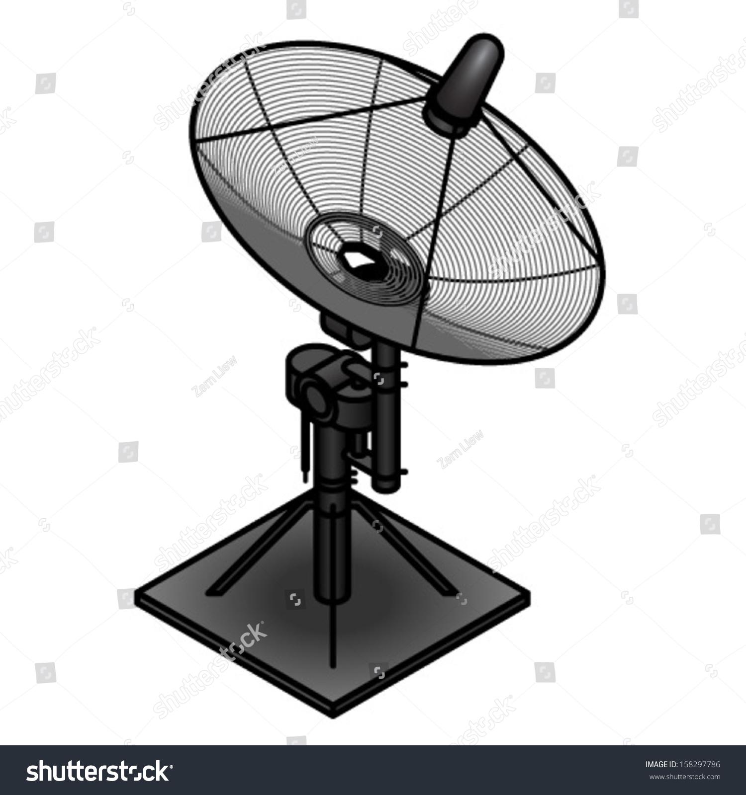 Small Satellite Dish On Motorised Mount Stock Vector
