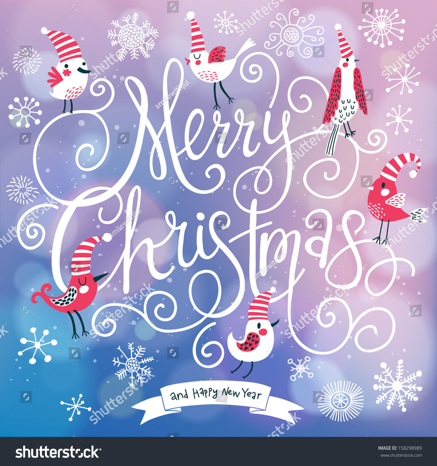 Fantastic merry christmas card vector cute stock vector 158298989 fantastic merry christmas card in vector cute stylish birds on merry christmas text on bright kristyandbryce Image collections