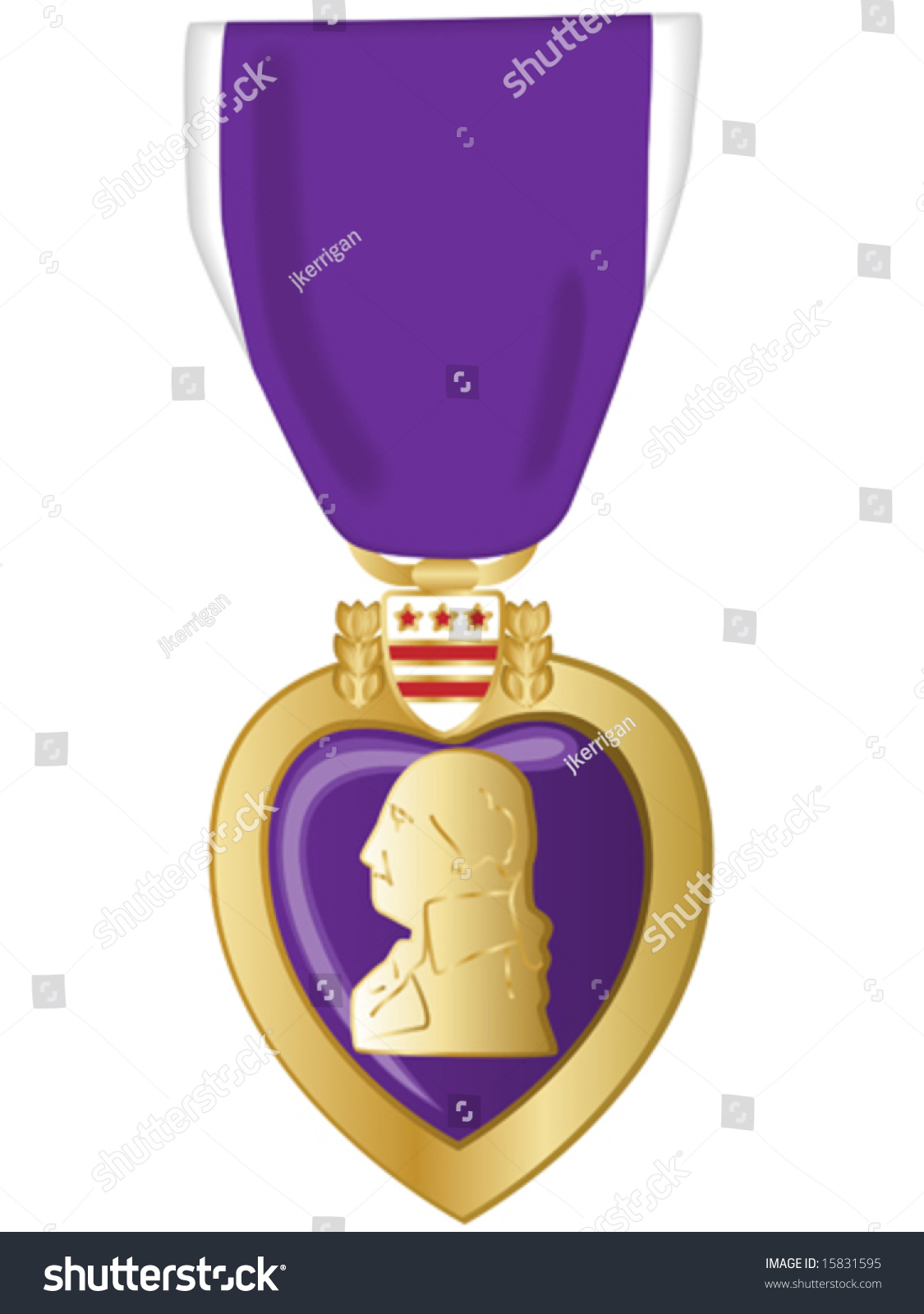 Vector Illustration Of Purple Heart Medal. - 15831595 ...