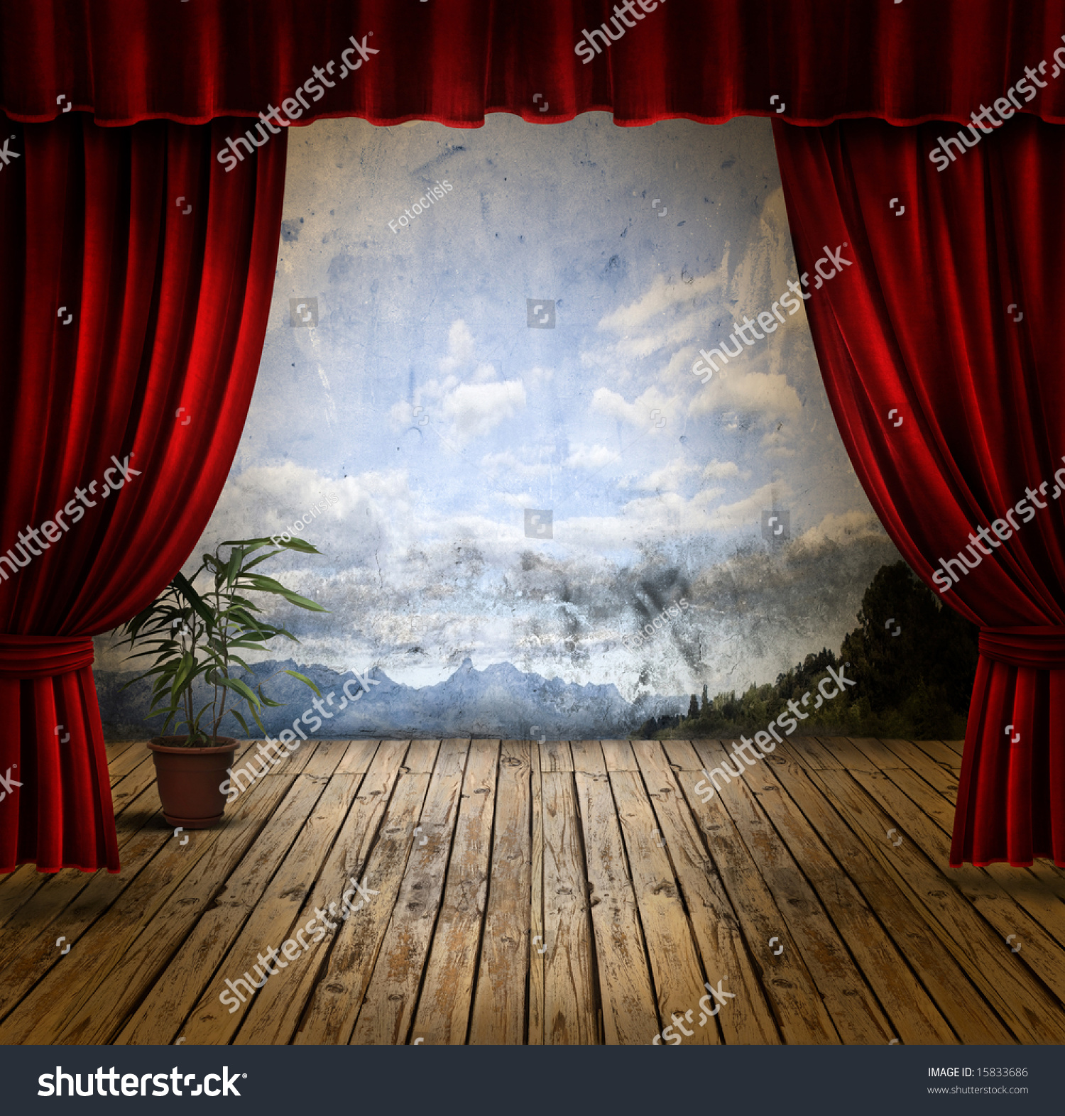Theatre curtains png - Theatre Curtains Png Small Stage With Red Velvet Theater Curtains