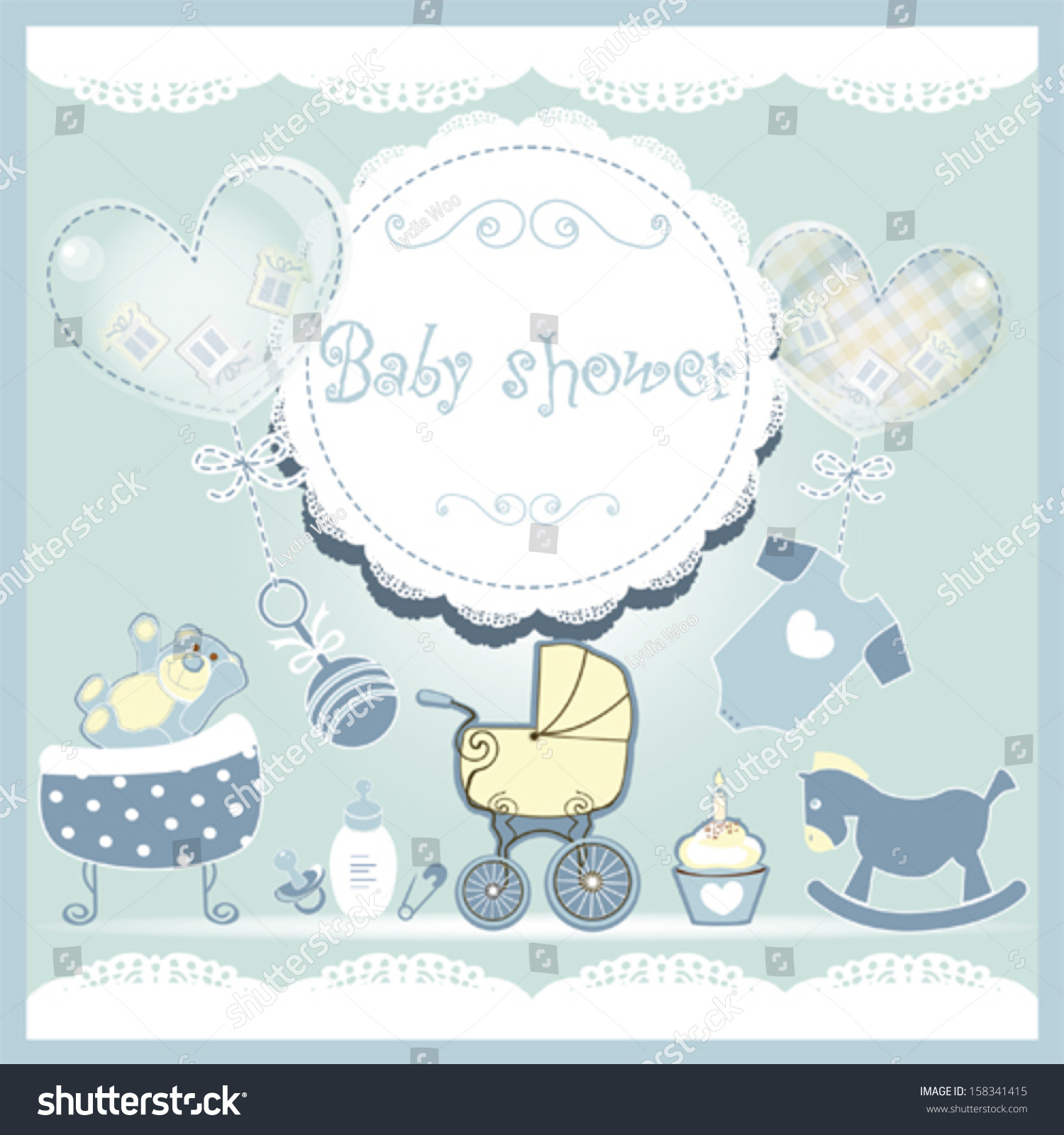 Baby boy arrival card vector by leonart image 600444 vectorstock - Baby Shower Card With Cute Baby Accessories Stock Vector Wallpaper Gallery Baby Shower Card Vector