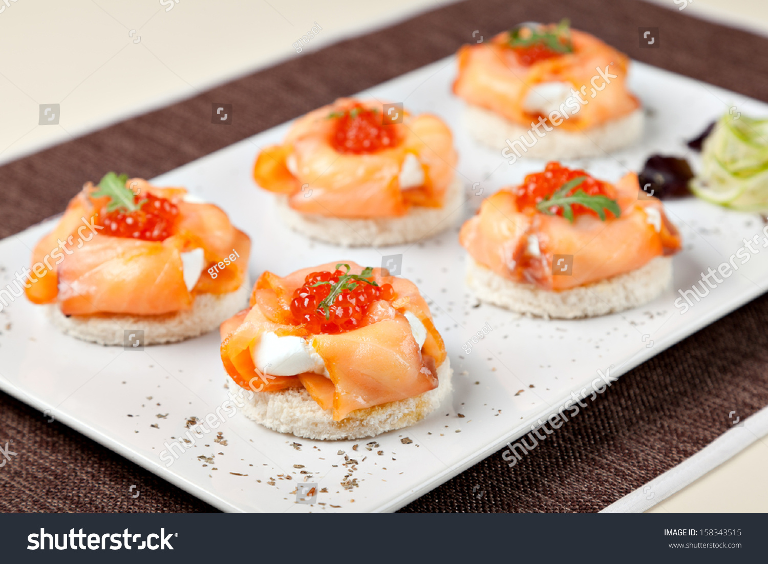 Canapes smoked salmon cream cheese stock photo 158343515 for Cream cheese canape