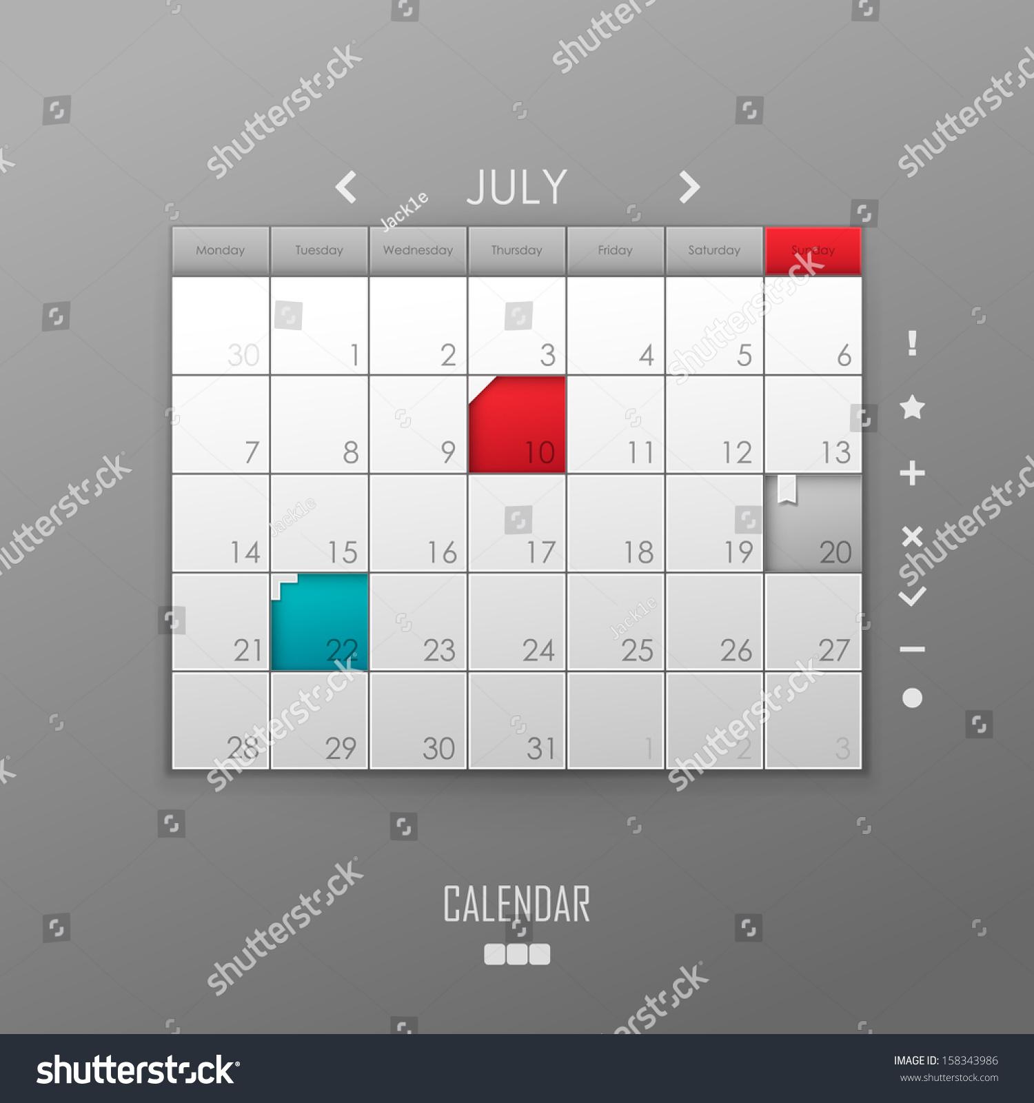 Calendar Typography Vector : Vector calendar template design stock