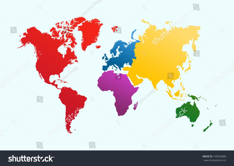 World Map Colorful Continents Atlas Illustration Stock Illustration ...