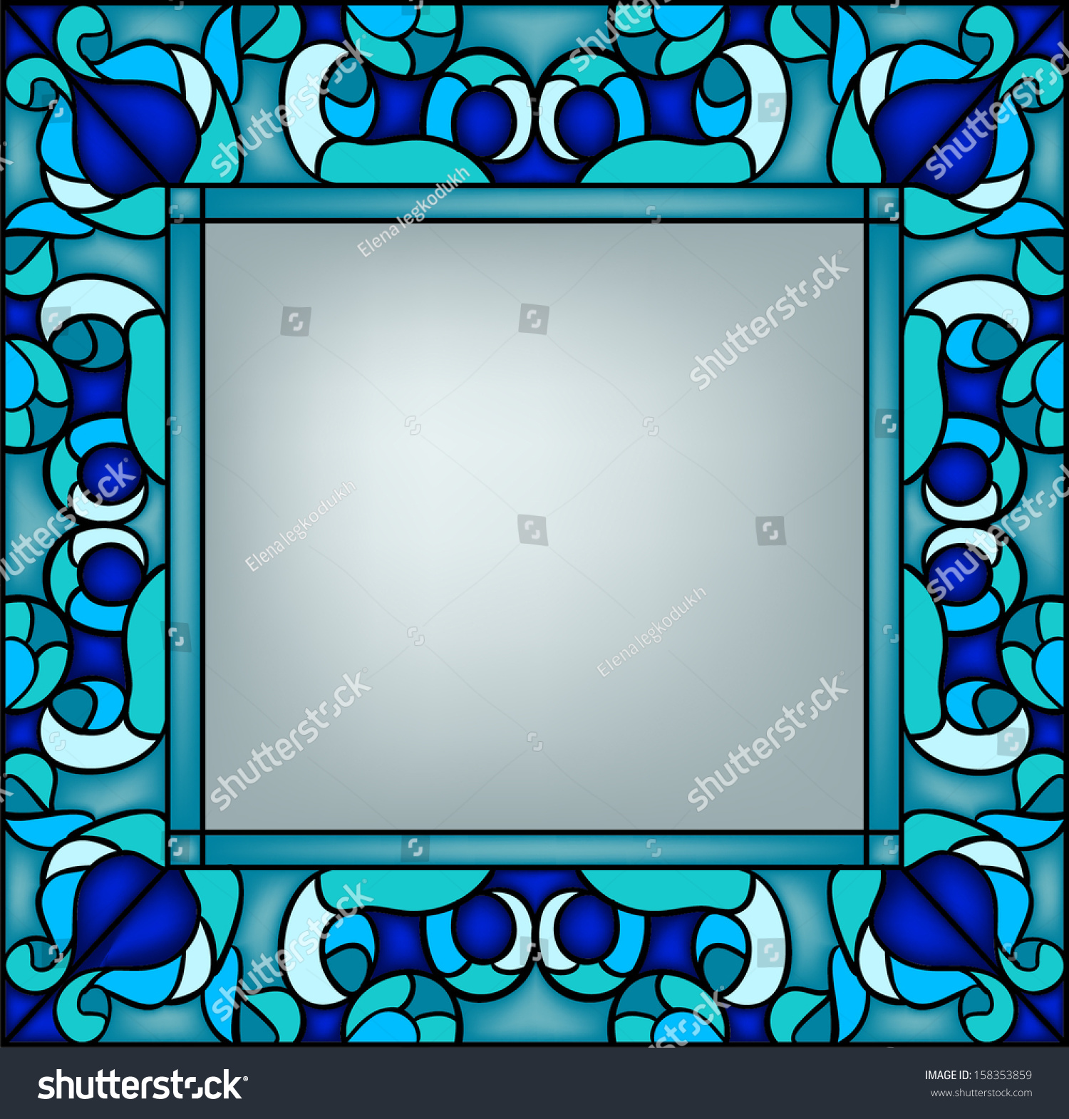 floral frame stained glass window stock vector royalty free