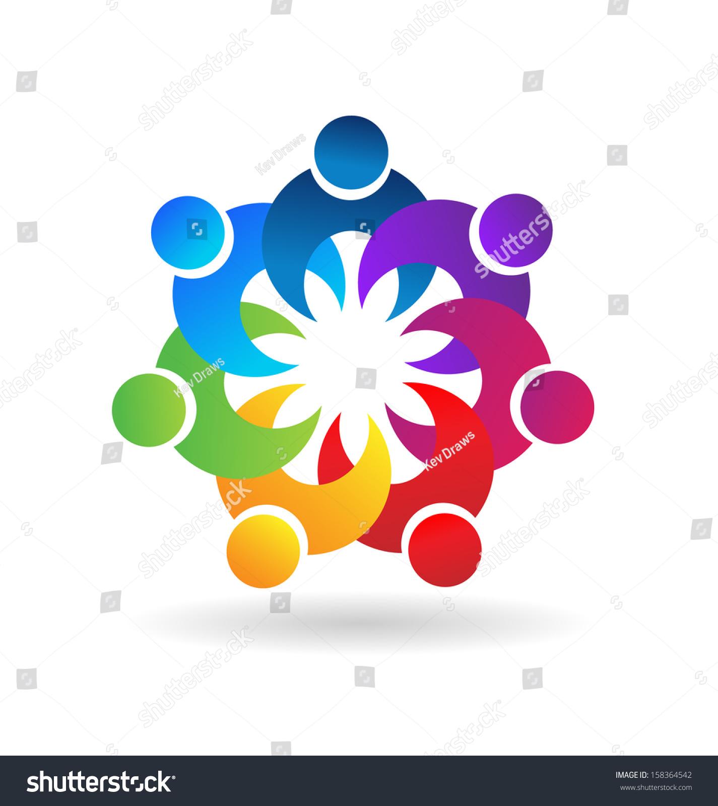 Teamwork Holding Hands Symbol Vector - 158364542 ...