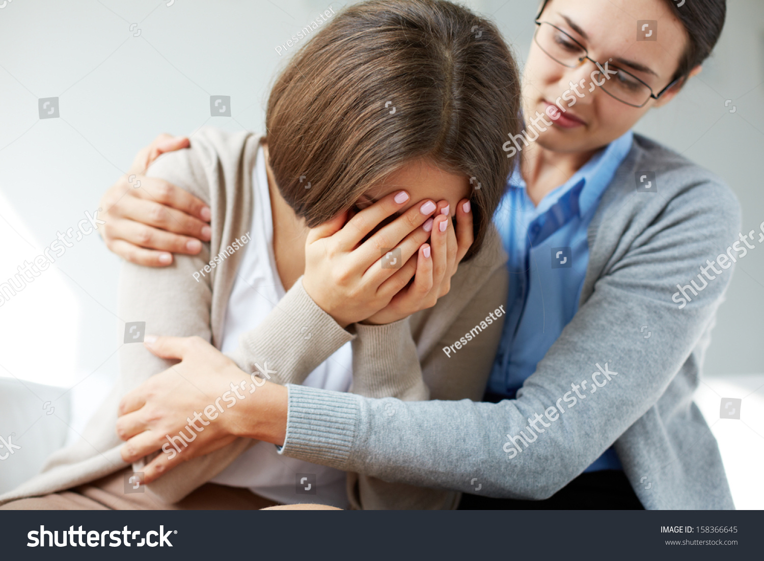Image Compassionate Psychiatrist Comforting Her Crying ...