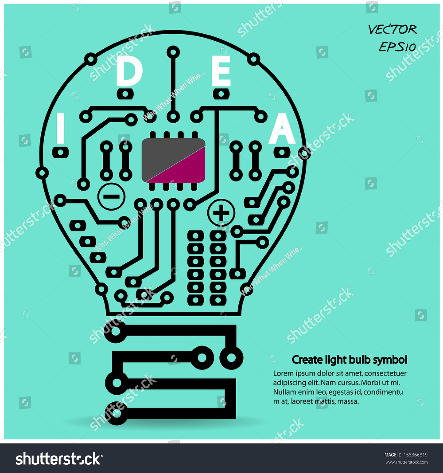 Light Bulb Idea Concept Template Light Stock Vector 158366819 ... for Bulb Circuit Symbol  557ylc