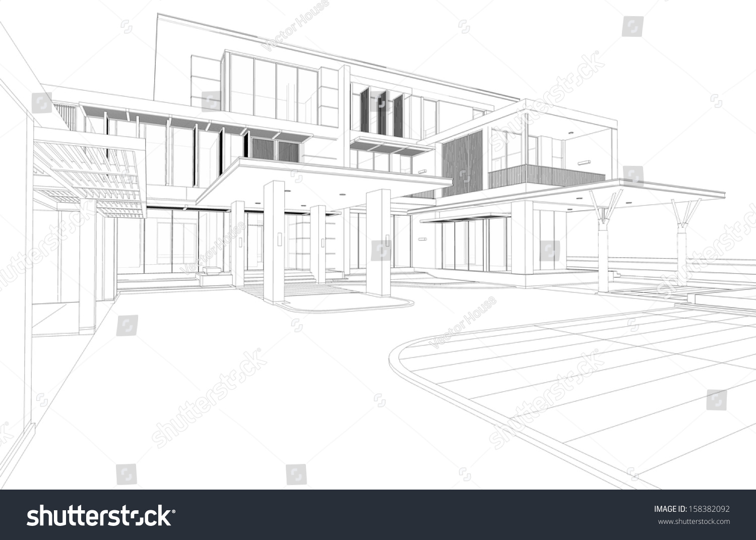 Wireframe drawing of tropical modern house 3d render of building