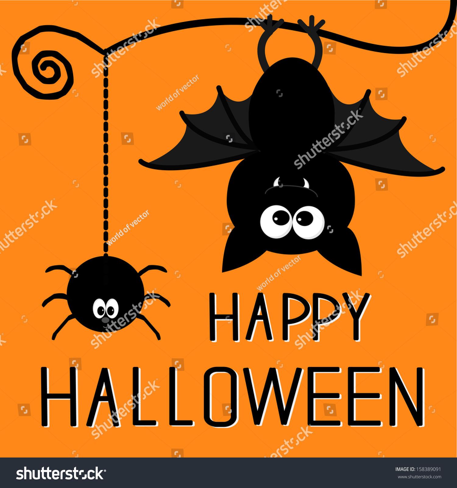 Naino Bat Dawnload Song: Cute Bat Hanging Spider Happy Halloween Stock Vector