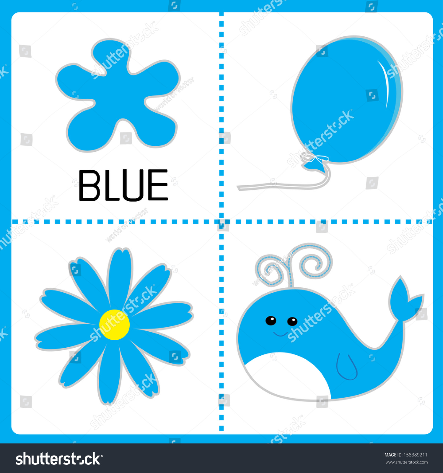 Color cards for kids - Learning blue color balloon flower and whale educational cards for kids vector