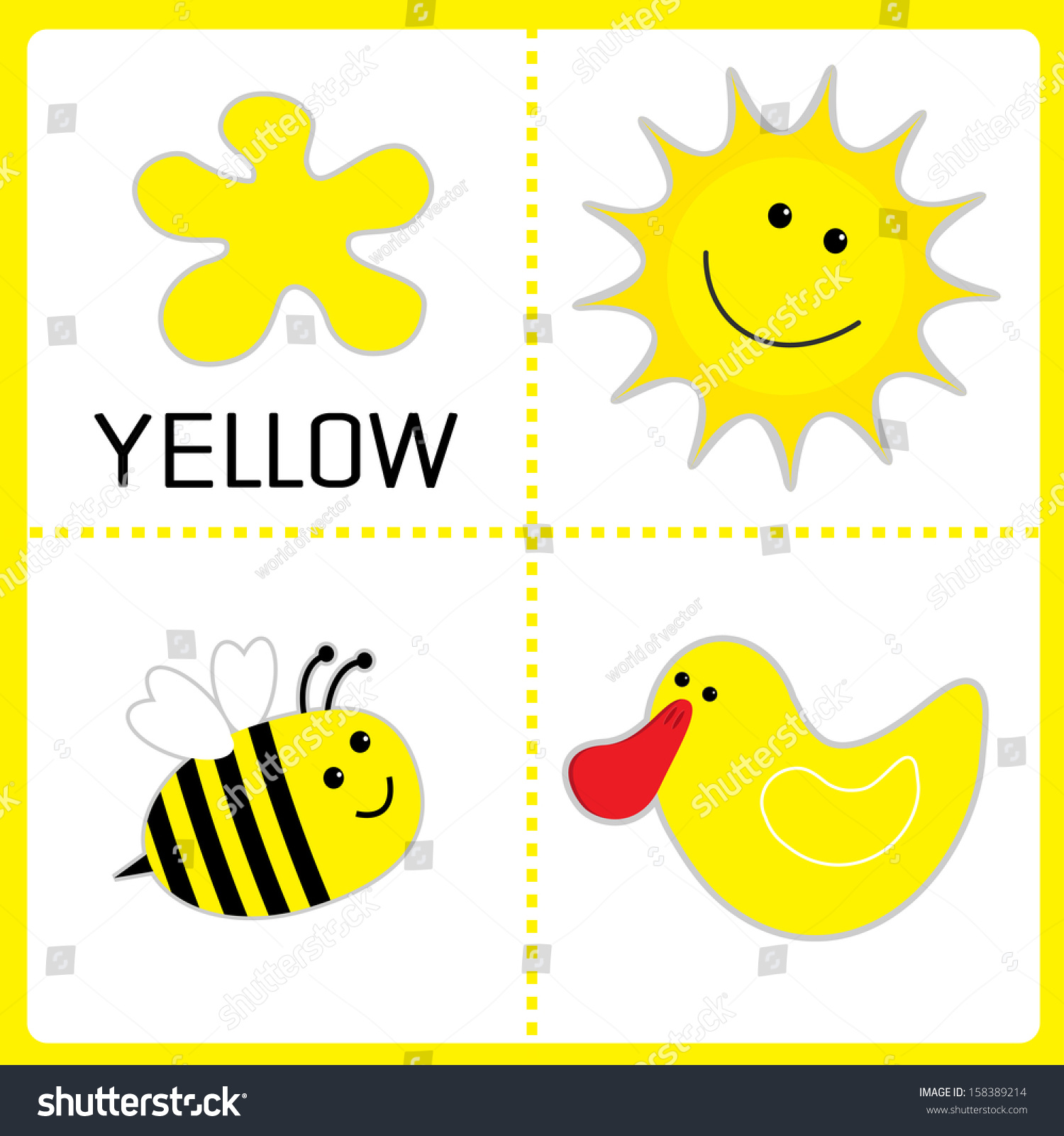 Color cards for kids - Learning Yellow Color Sun Bee And Duck Educational Cards For Kids Vector