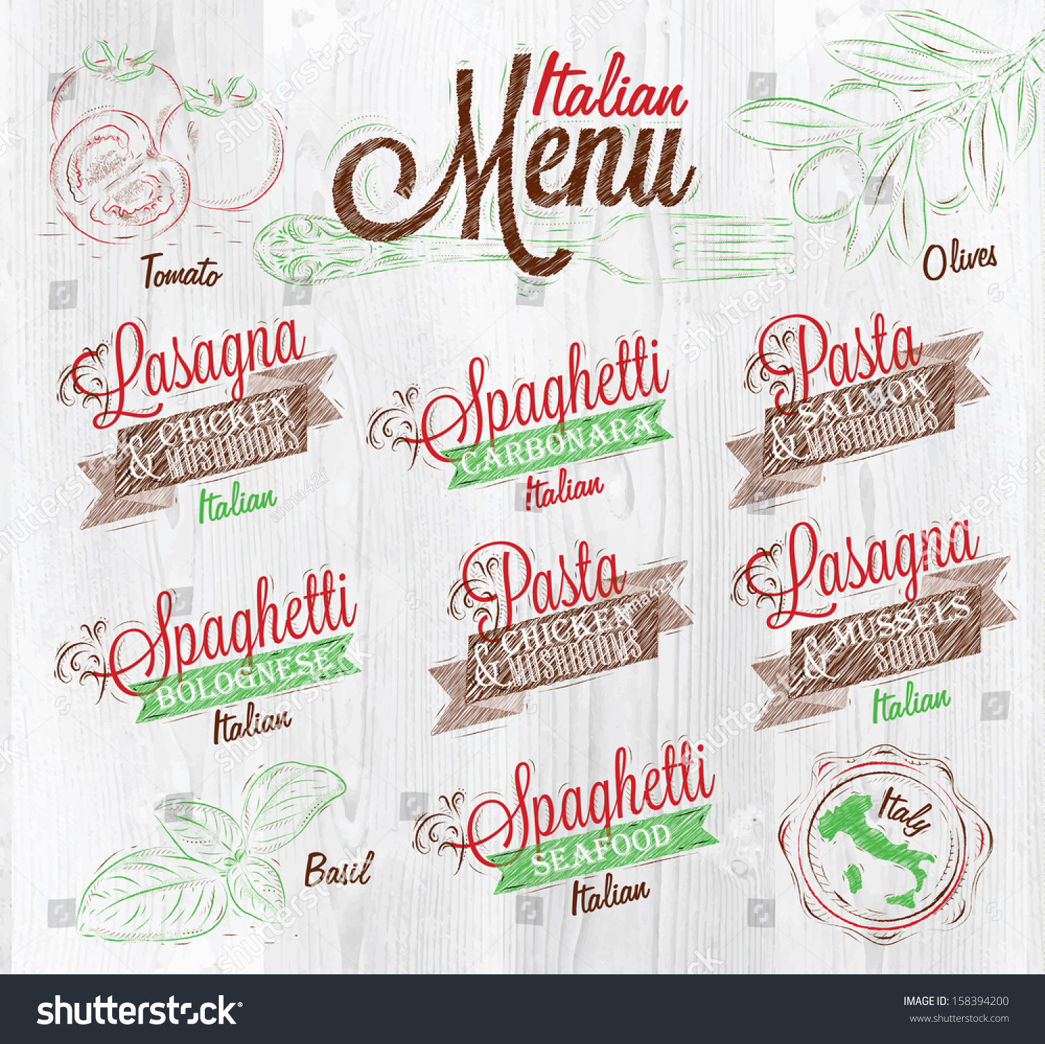 Italian Food Restaurant Names: Menu Italian Names Dishes Spaghetti Lasagna Stock Vector
