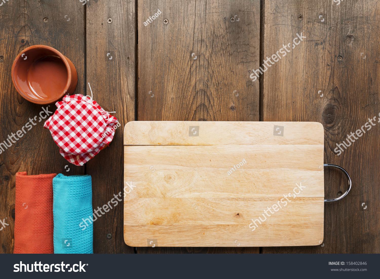 Kitchen Table Background Royaltyfree Kitchen Tablecookbook Backgroundan… 158402846