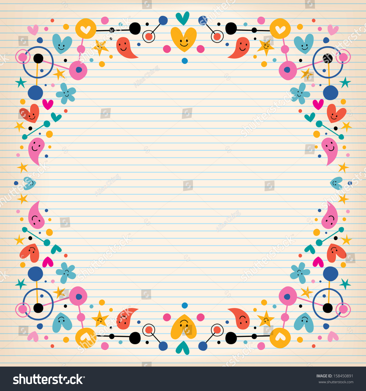hearts dots flowers and stars funky note paper frame border