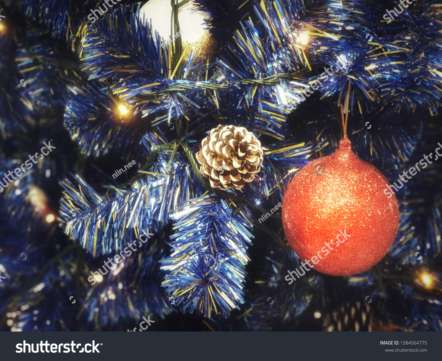 Blue Christmas Tree Decorated Fancy Red Stock Photo Edit Now 1584564775