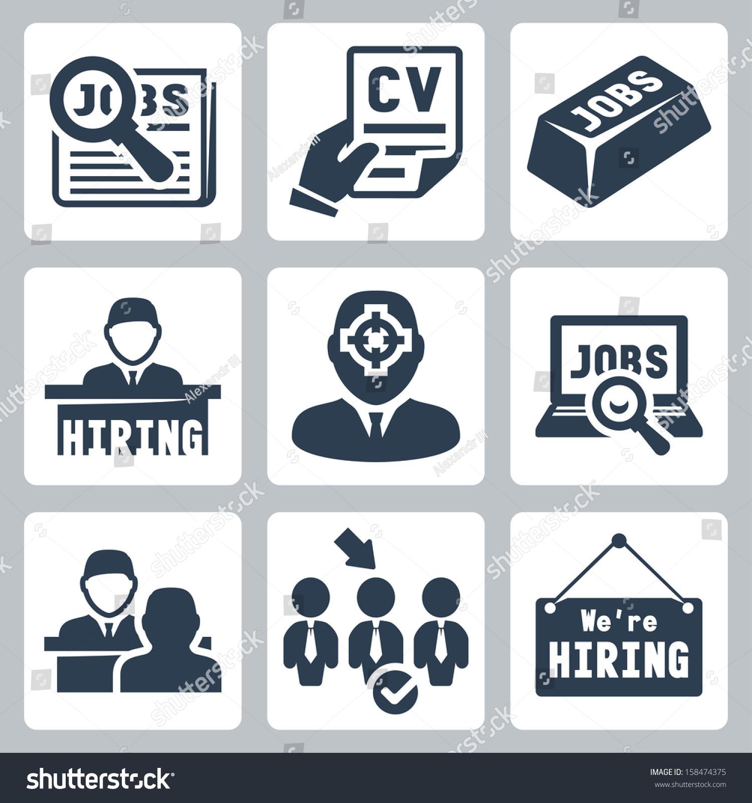 vector job hunting job search human stock vector 158474375 vector job hunting job search human resources icons set