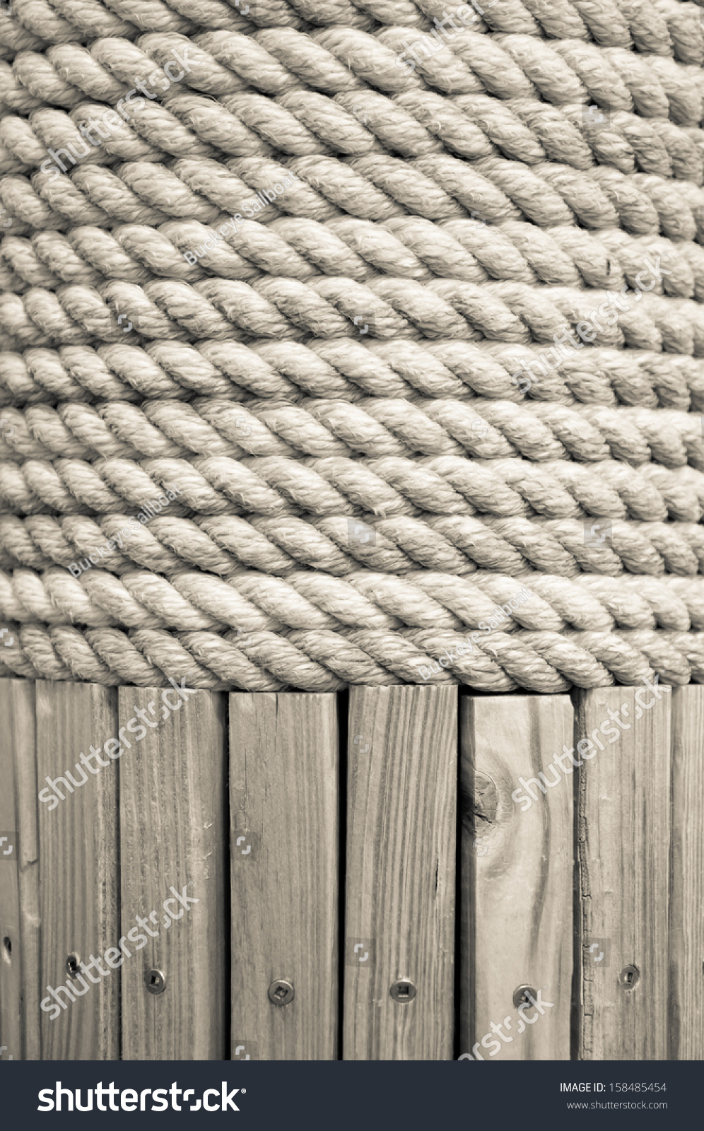 Wooden Post Texture braided white rope wrapped around wooden stock photo 158485454