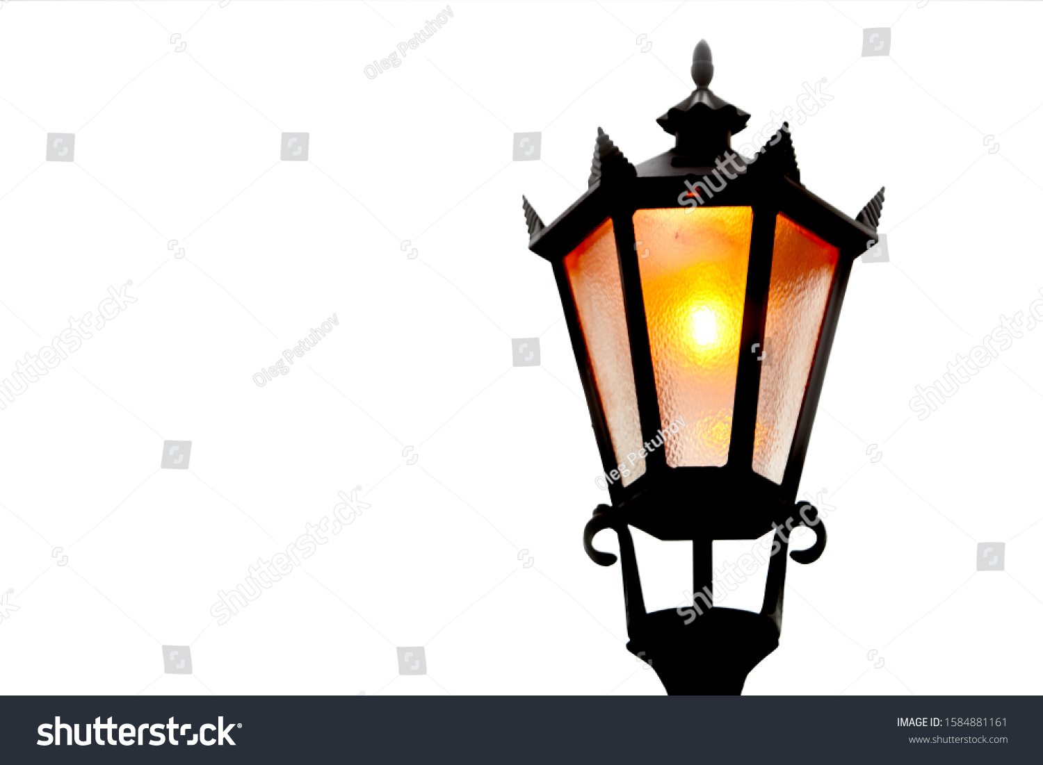 Old street light isolated white background #1584881161