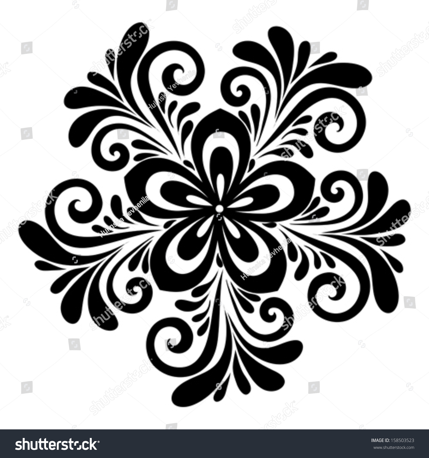 Black White Lace Flowers Leaves Isolated Stock Vector 158503523