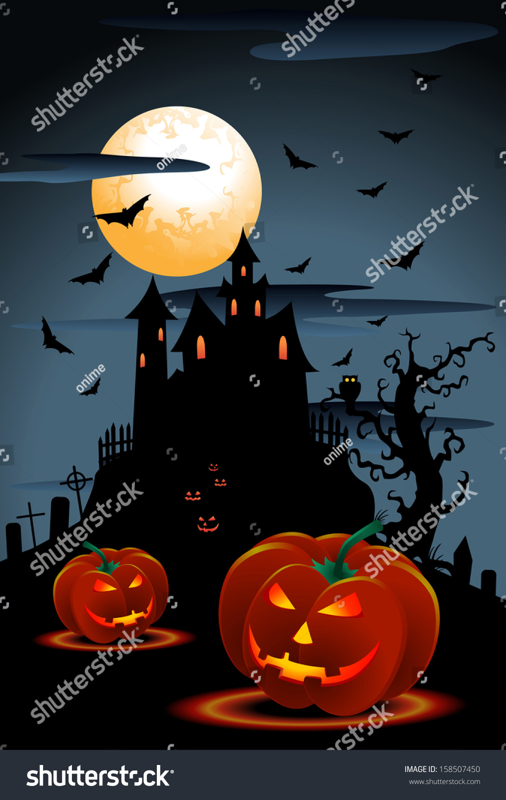 Illustration Scary Pumpkins Halloween Background Moon Stock ...