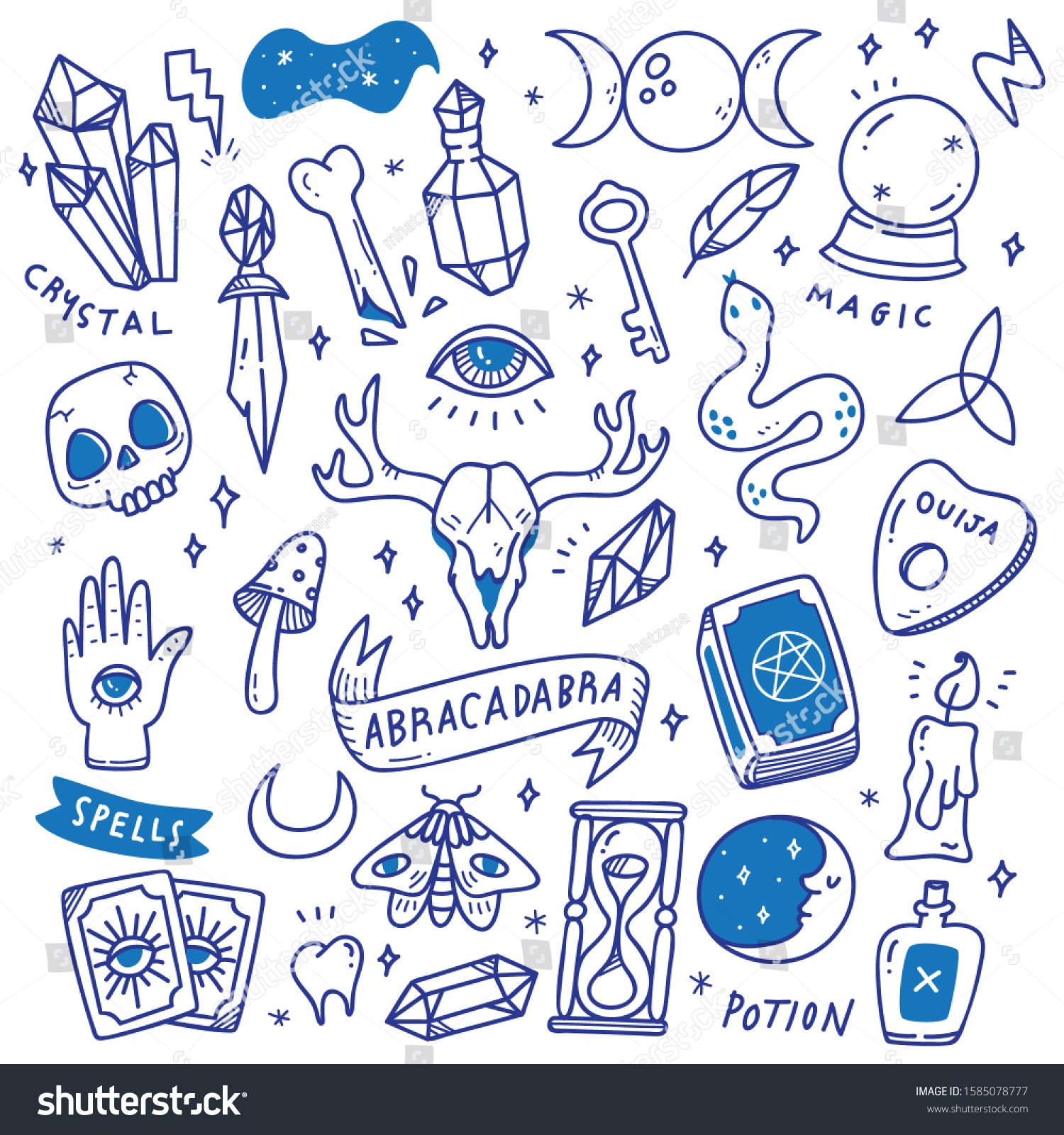Set Occult Doodles Mystical Object Cute Stock Vector Royalty Free 1585078777
