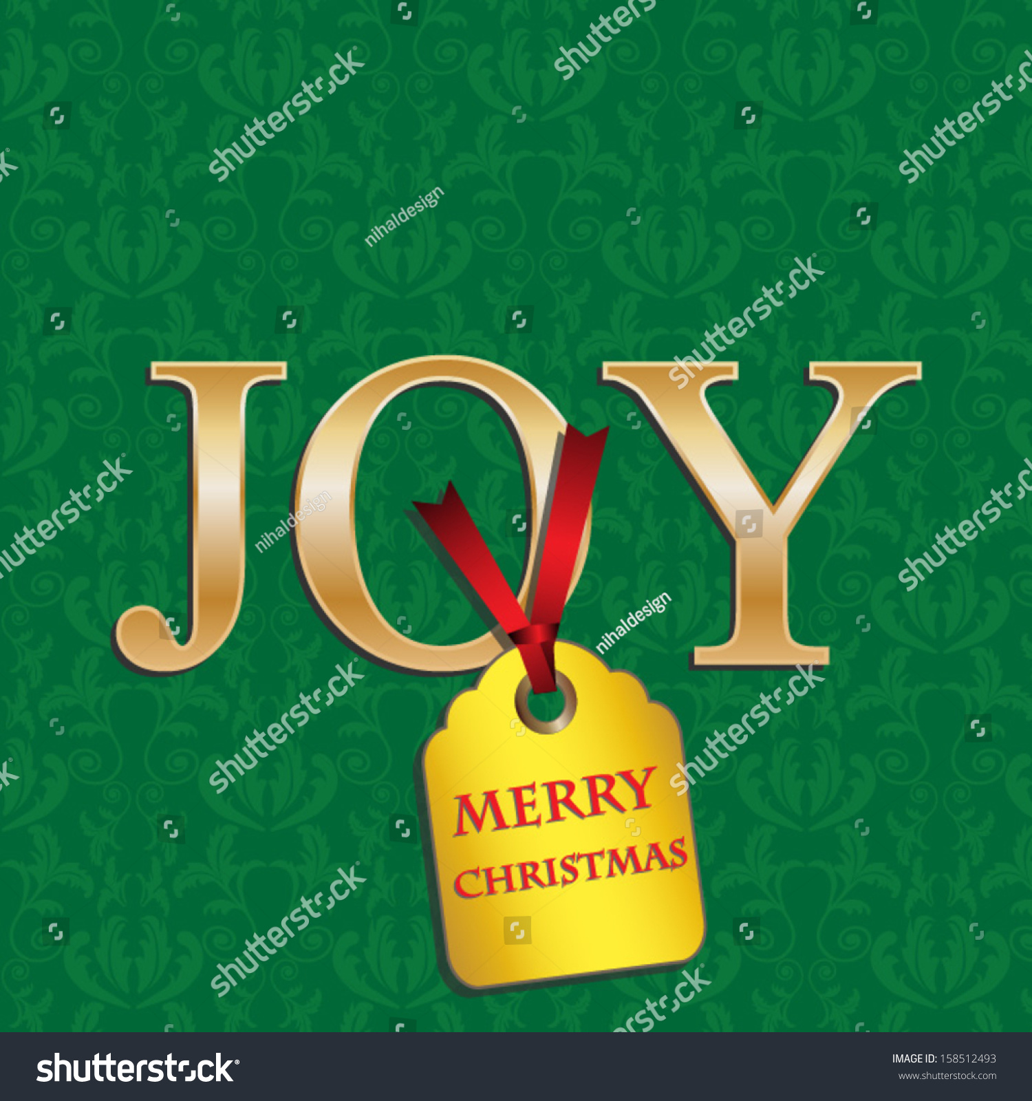 christmas cards with green damask and gold joyvector eps10illustration