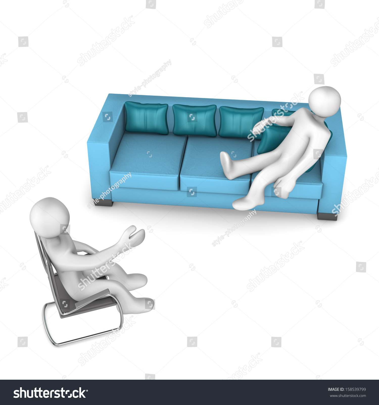 White Cartoon Character Sofa Psychiatrist Stock Illustration