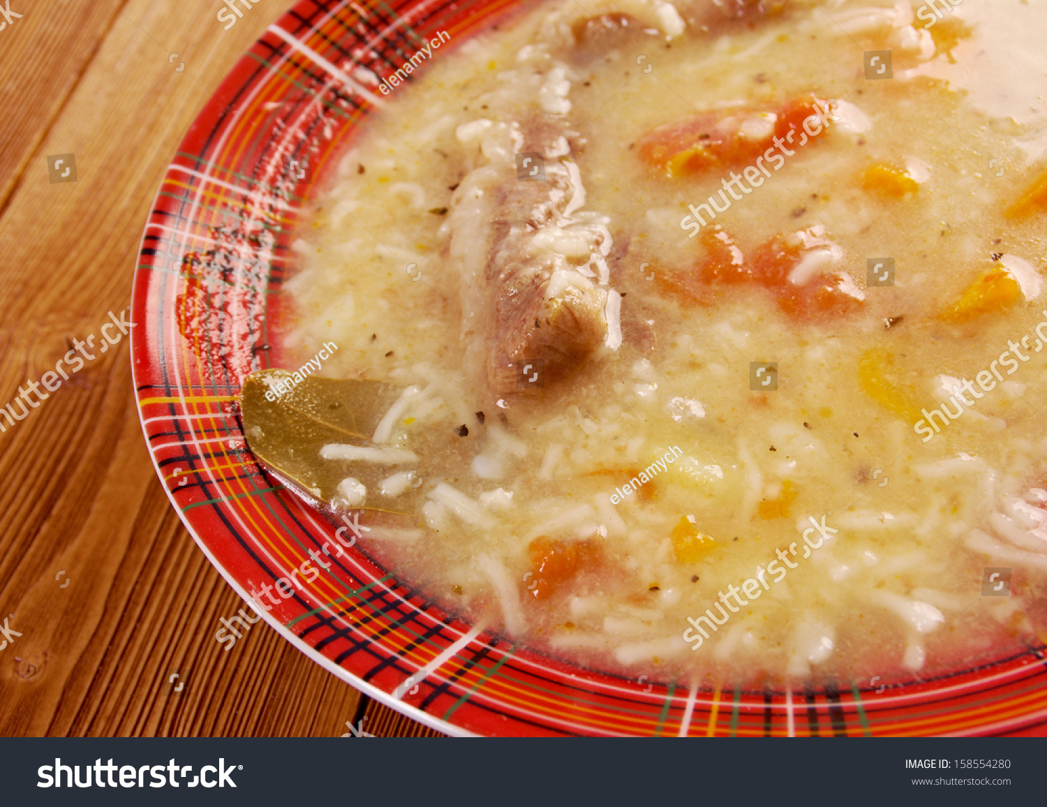 Italian Farm-Style Beef Soup Vermicelli Stock Photo ...