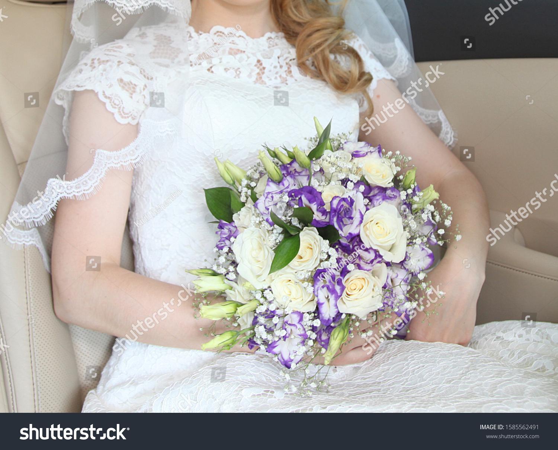 Bride Holding Wedding Bouquet Succulent Flowers Stock Photo Edit Now 1585562491