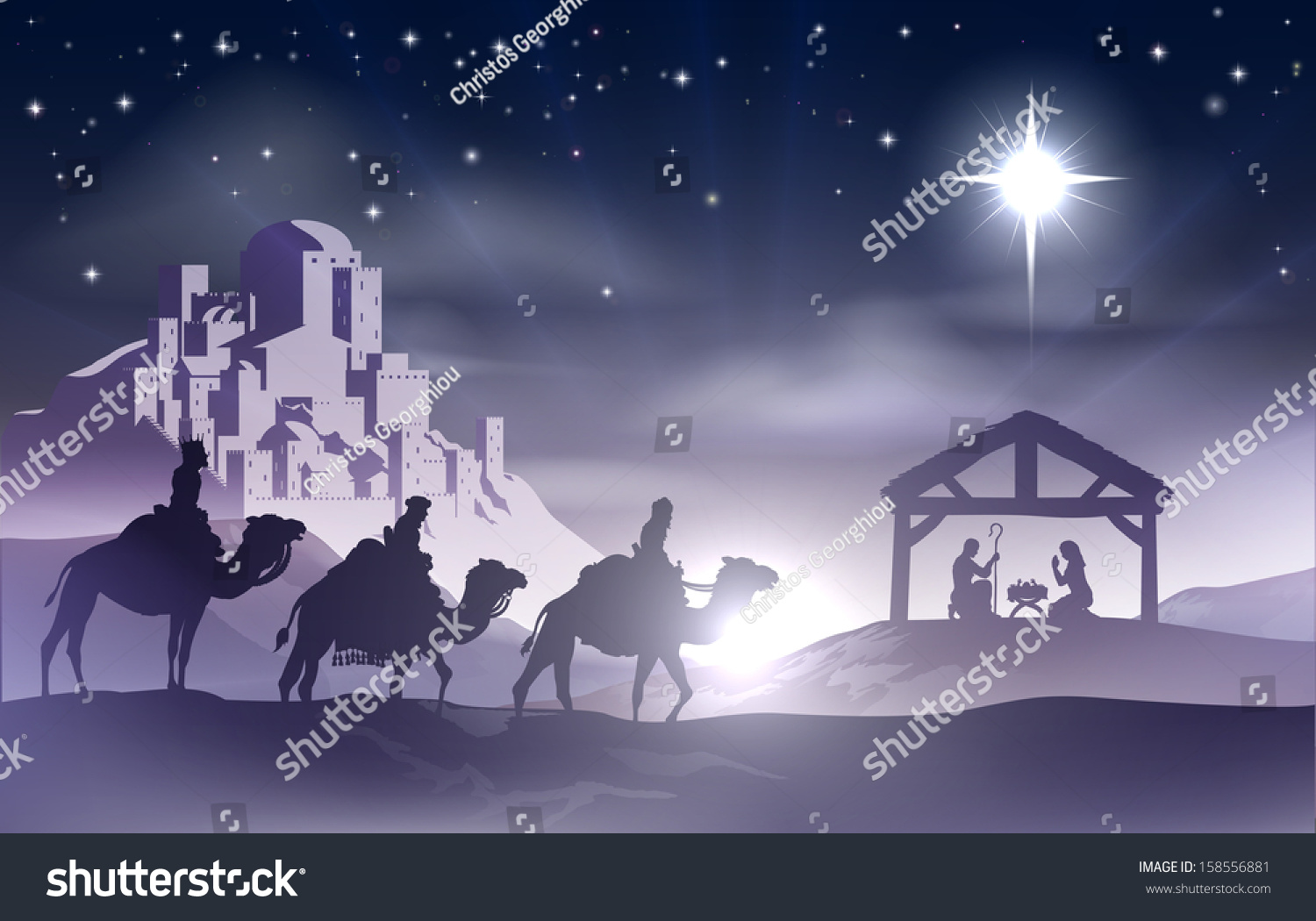 scene with baby Jesus in the manger in silhouette, three wise men ...