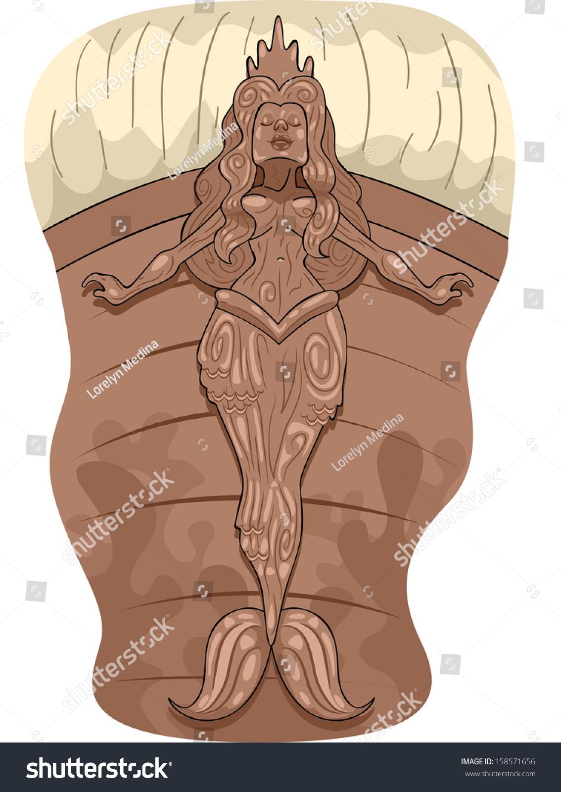 Illustration Pirate Ship Figurehead Mermaid Design Stock Vector