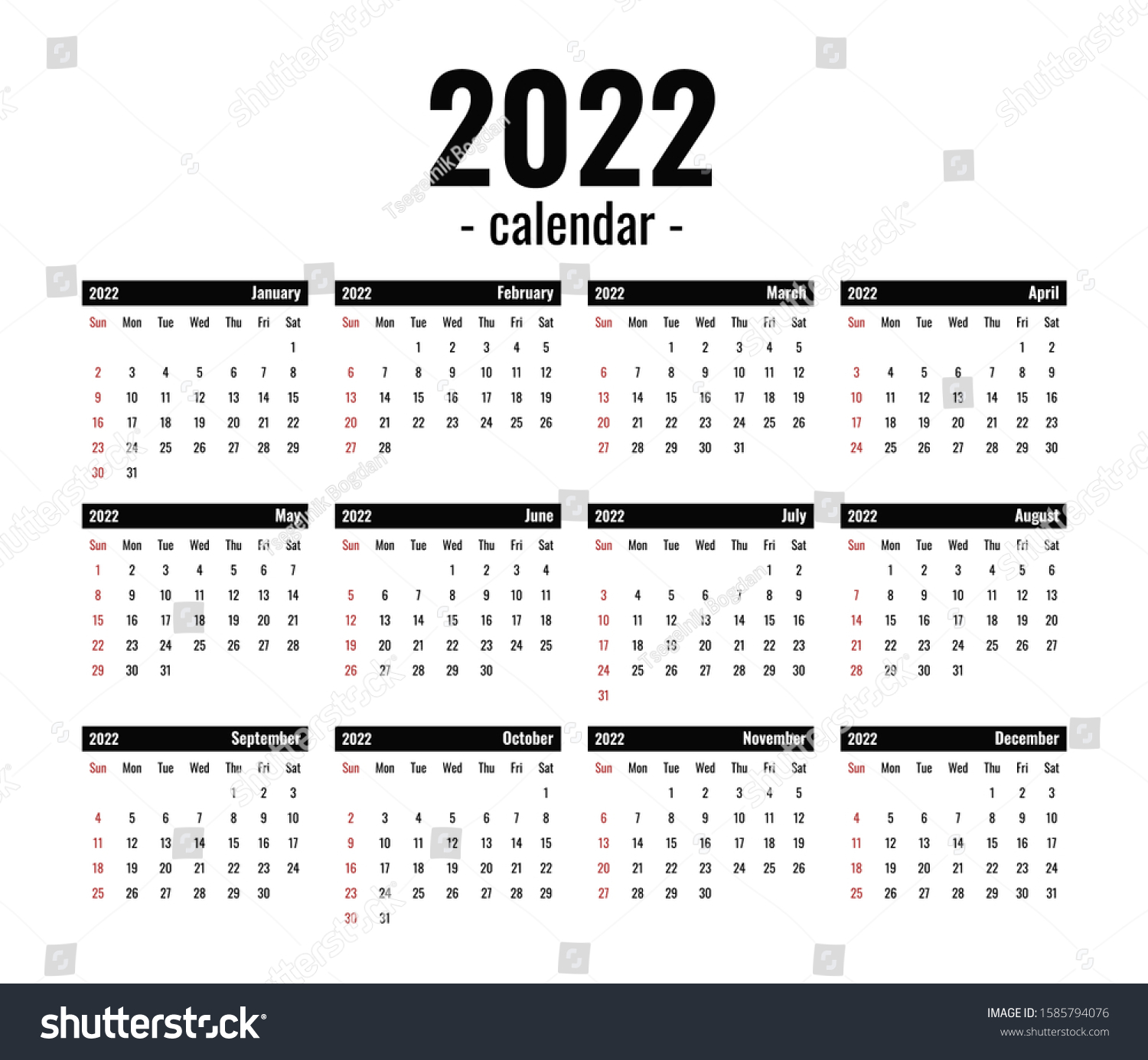 2022 Calendar With All Holidays.2022 Calendar Template Computer Black White Stock Vector Royalty Free 1585794076