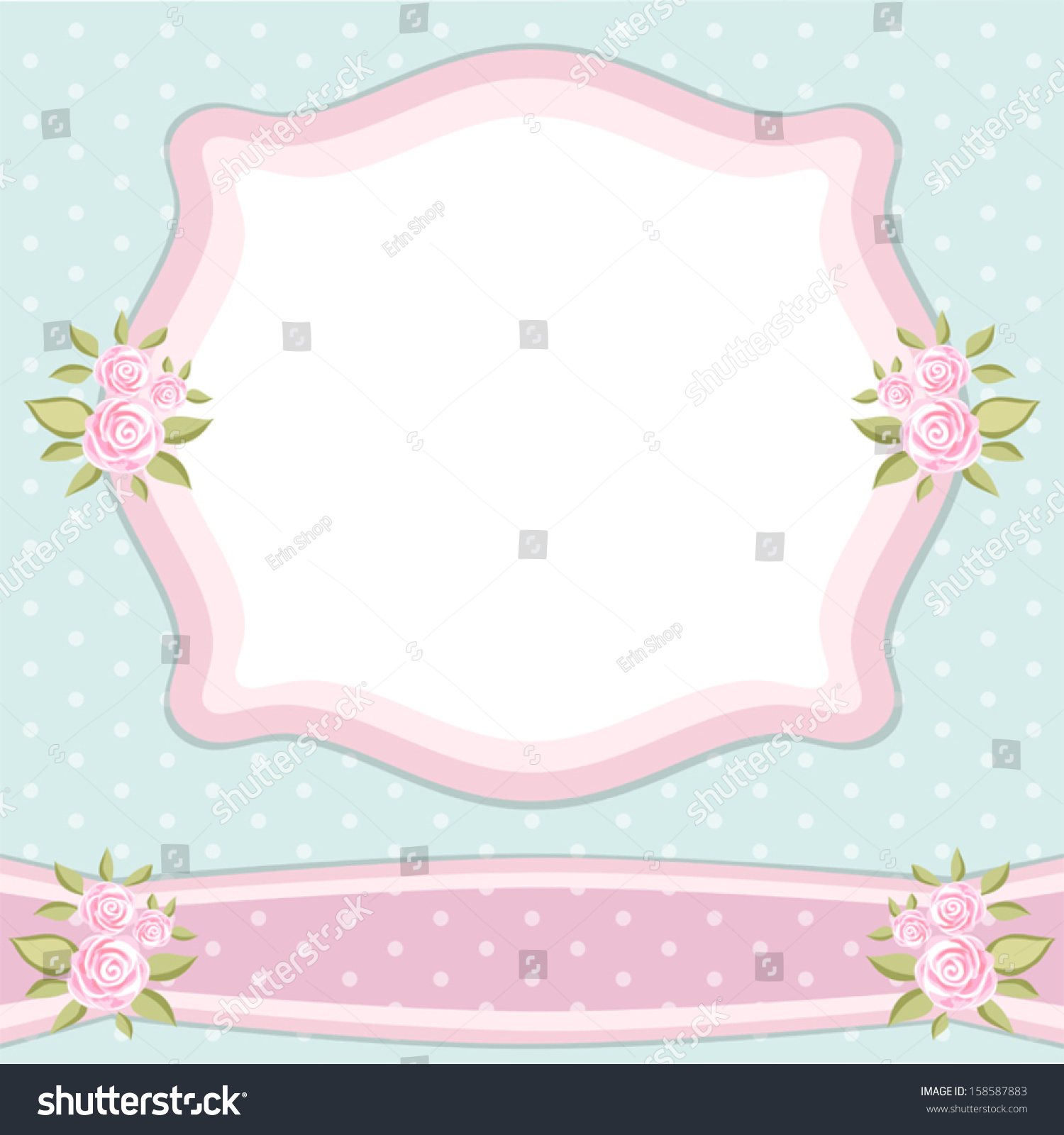 Vintage Frame Roses Shabby Chic Style Stock Vector Royalty Free