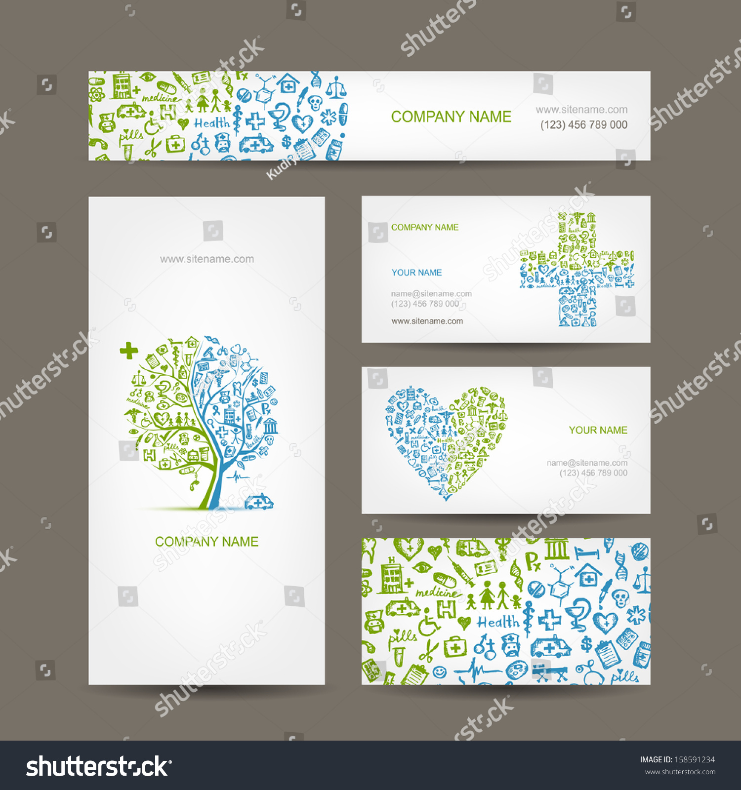 Business Cards Medical Objects Your Design Stock Vector 158591234 ...
