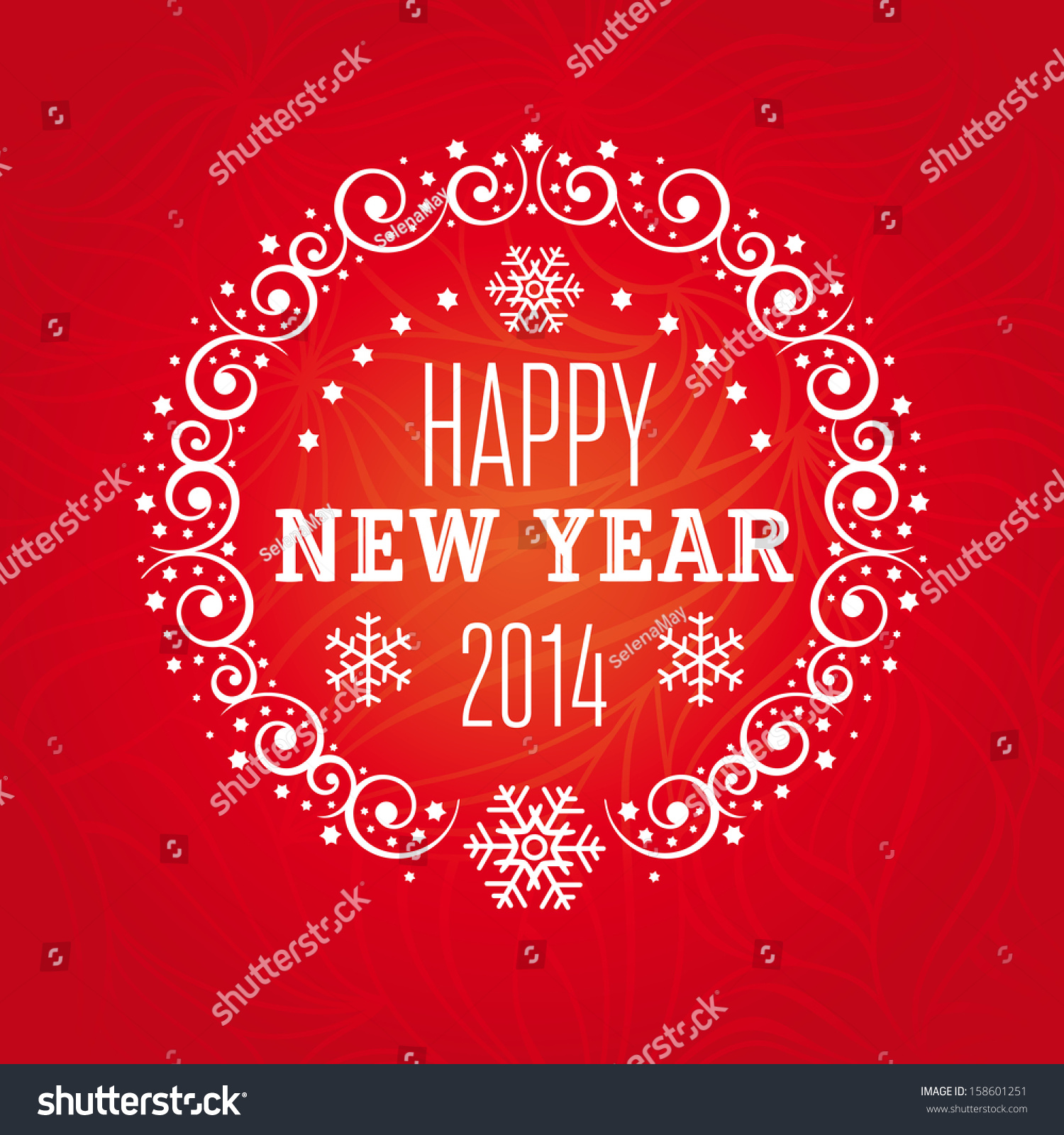 Happy 2014 New Year Greeting Card With Decorative Frame Snowflakes