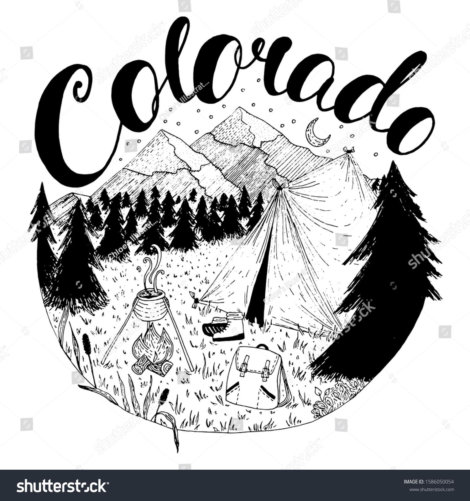 stock-vector-colorado-camping-vector-ink
