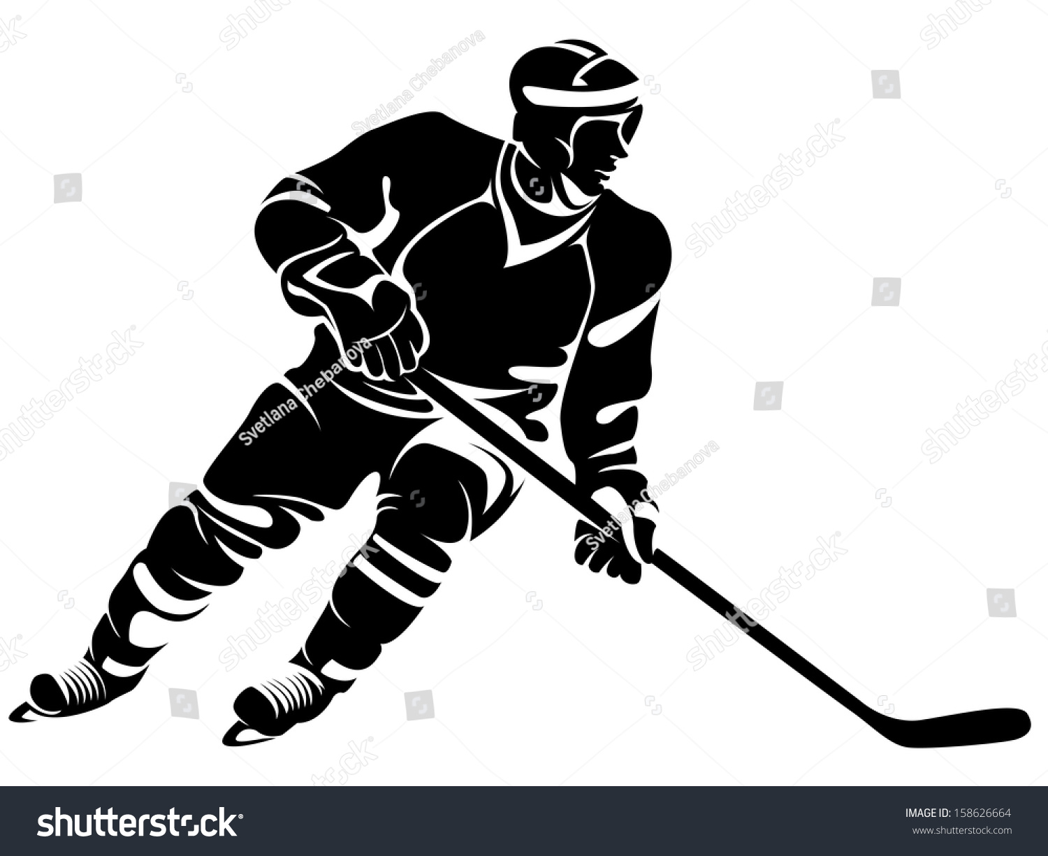 hockey player silhouette stock vector 158626664