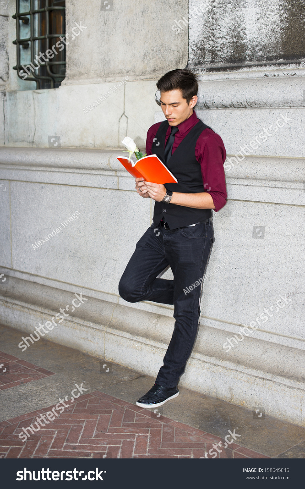 Dressing Red Shirt Black Vest Black Stock Photo 158645846 ...