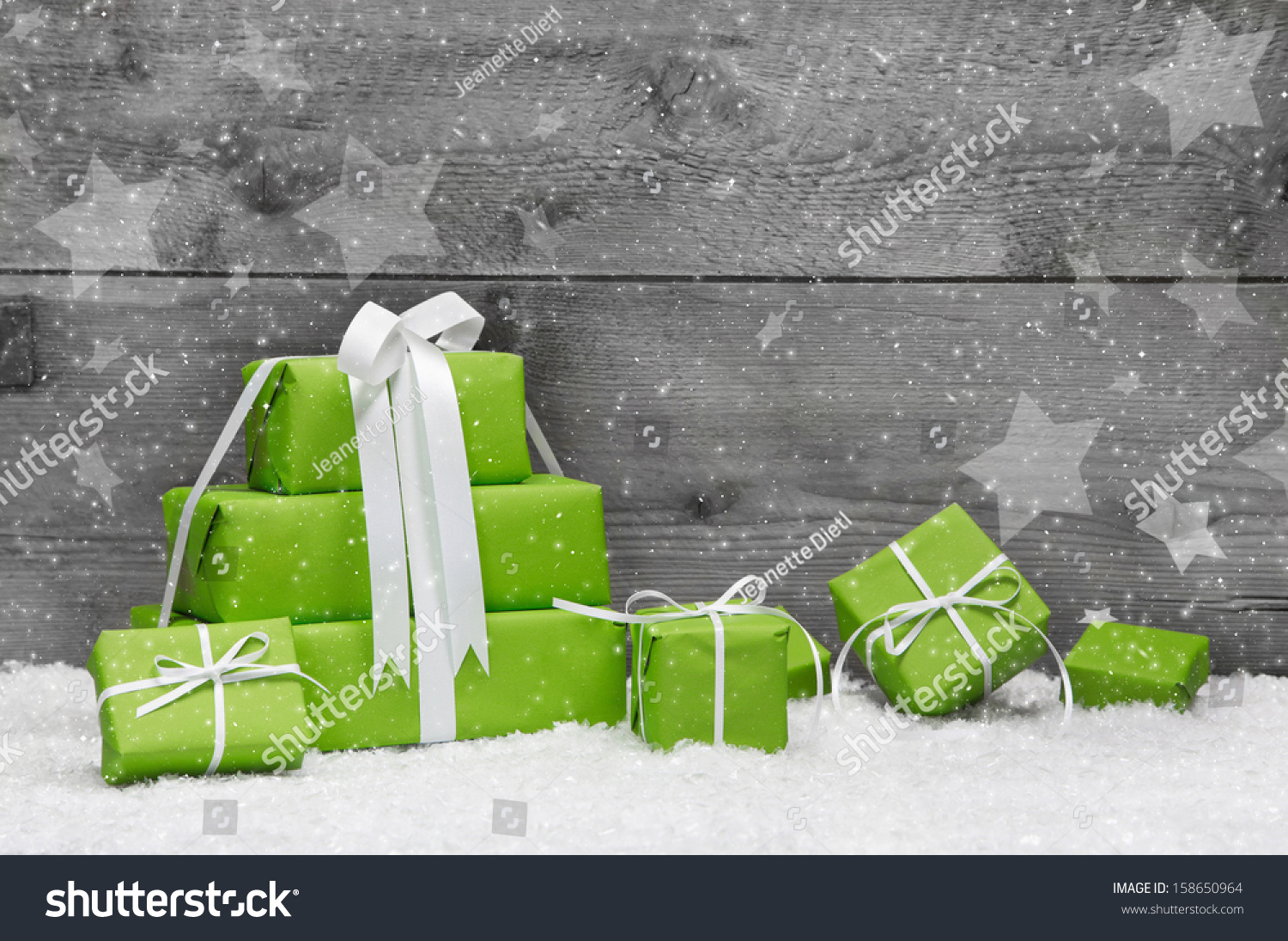 Green Christmas Presents Snow On Grey Stock Photo Image Royalty