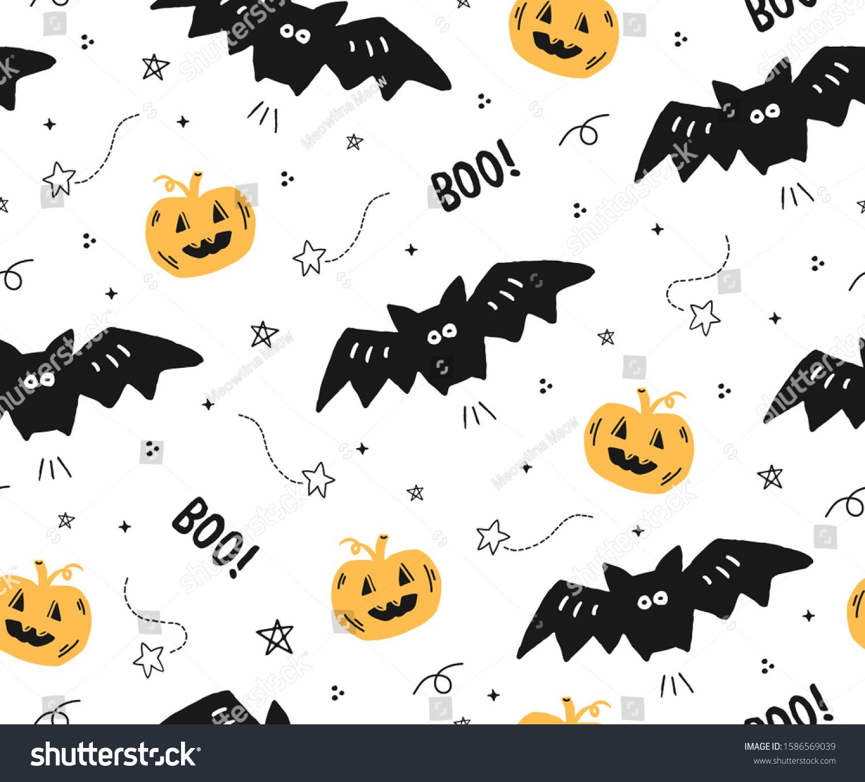 Halloween Pattern Wallpaper.Cute Seamless Halloween Pattern Bats Pumpkinsprint Stock Vector Royalty Free 1586569039