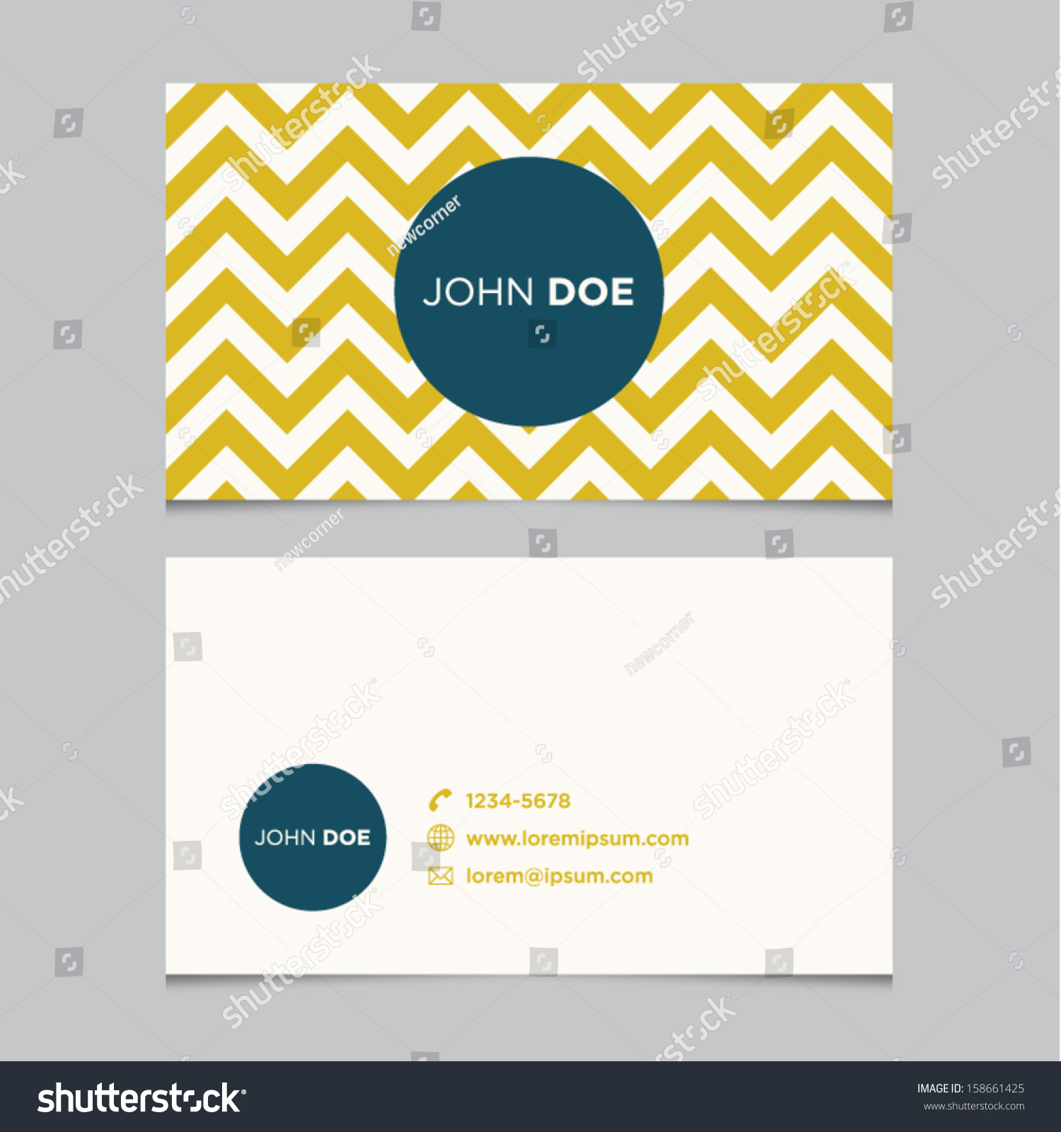Business Card Template Yellow Pattern Vector Stock Vector ...