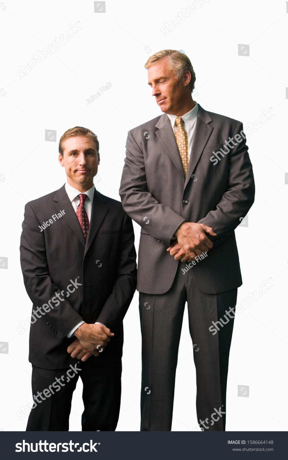 Businessmen posing, tall, small, cut out #1586664148