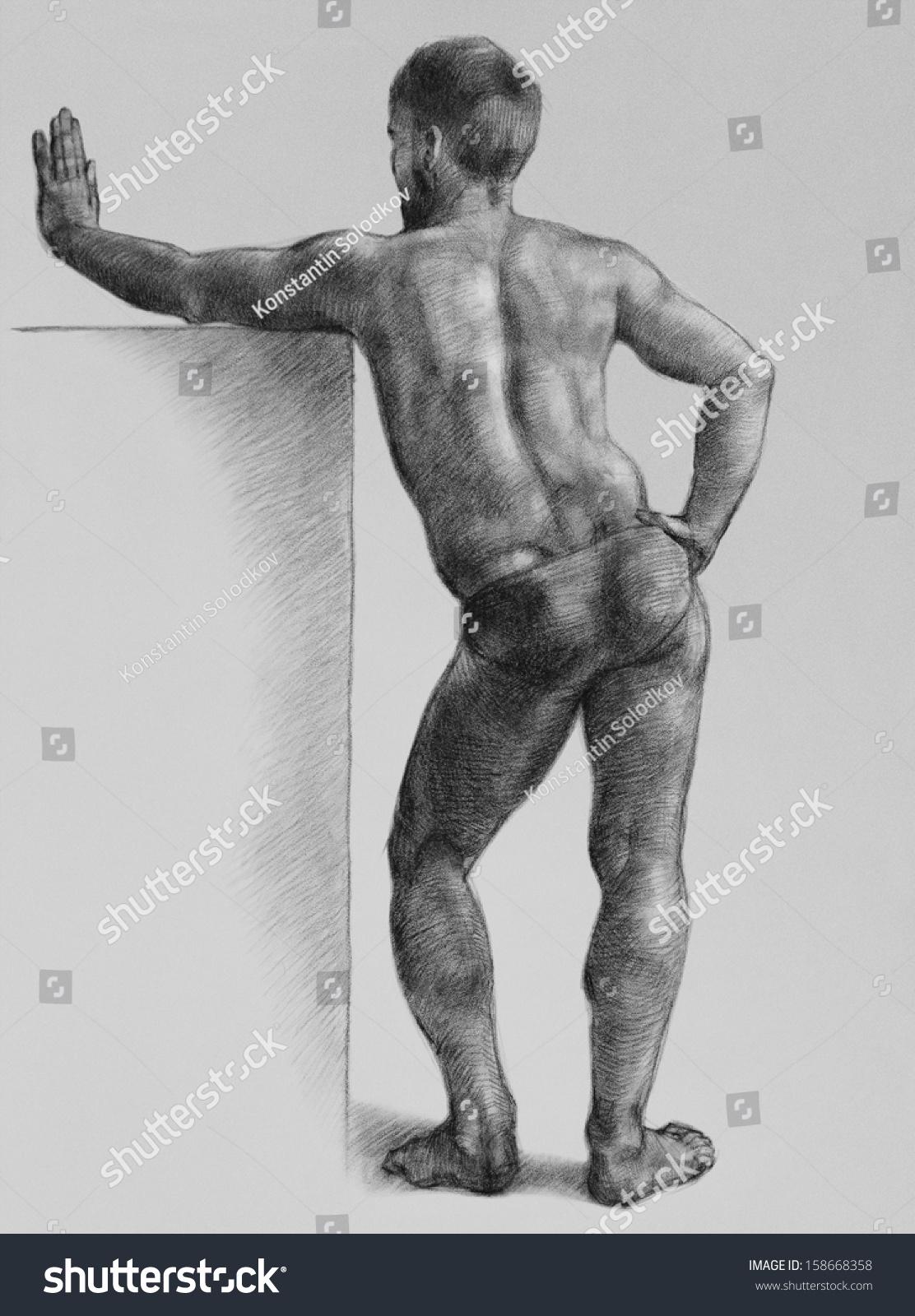 Male Nude Art Model Mans Back Stock Illustration 158668358 -2321