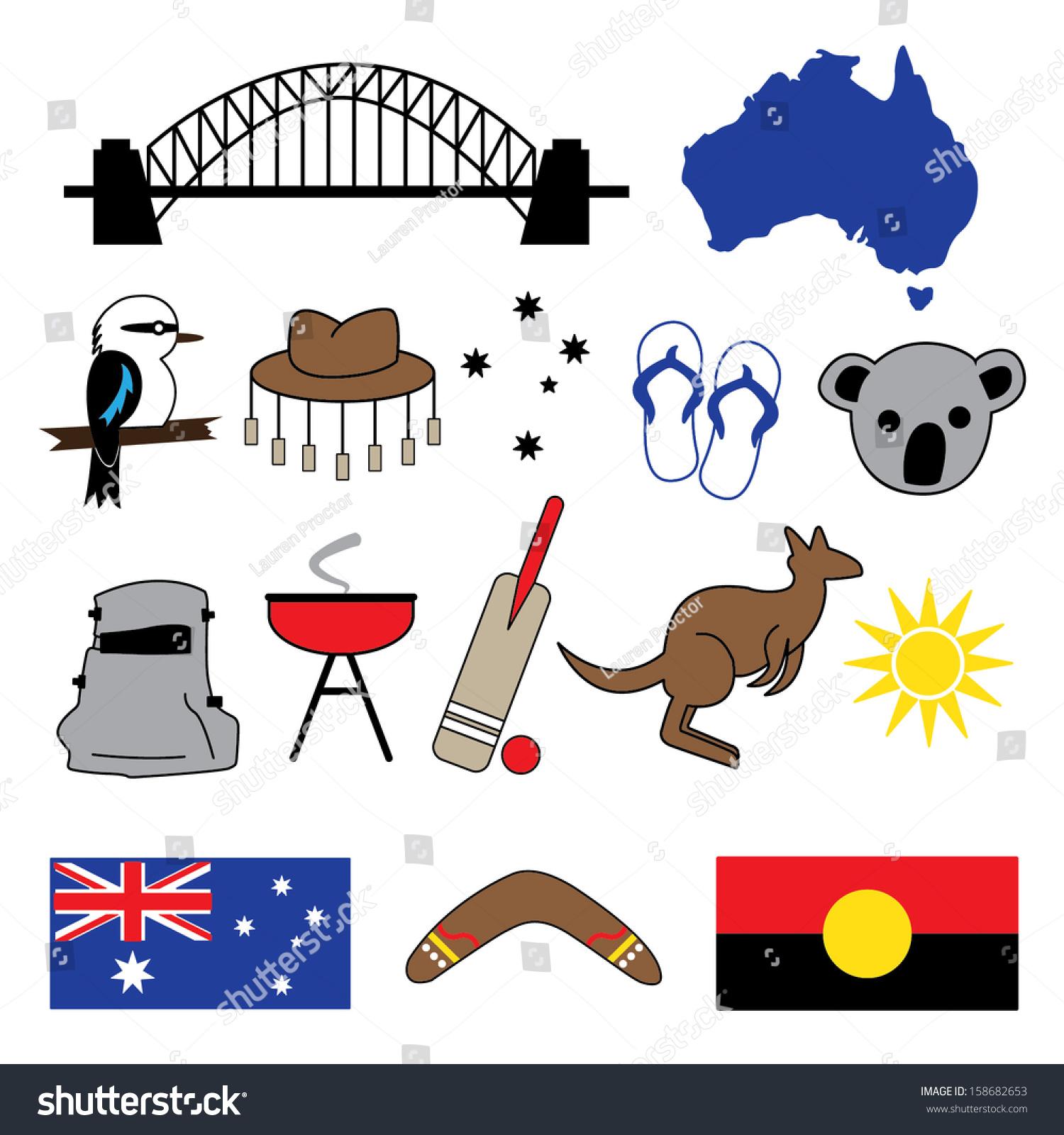 Australian icons symbols stock vector 158682653 shutterstock australian icons symbols biocorpaavc Choice Image