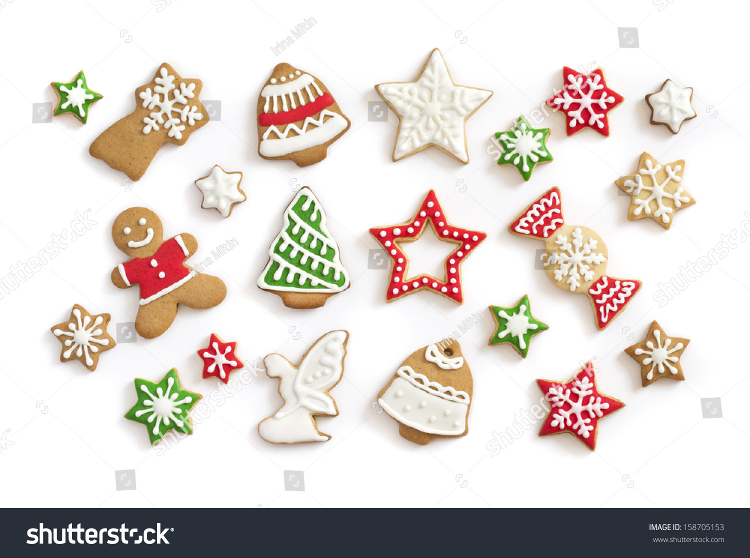Gingerbread Cookies On White Background Snowflake Stock