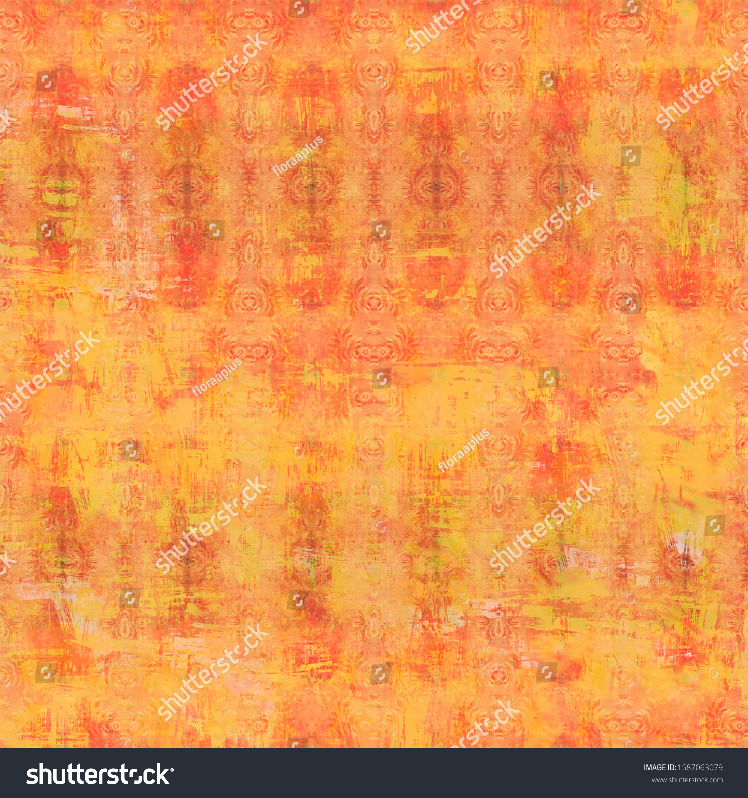 Orange shabby vintage patterned background. Artificially aged bohemian wallpaper in grunge style. Design for handicraft and mass production of various goods.