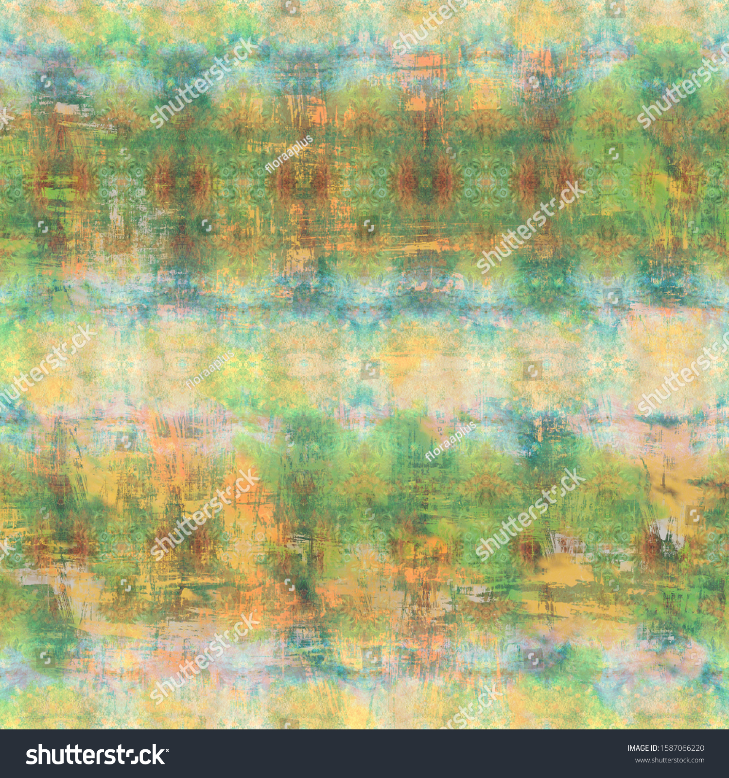 Beige-Green shabby vintage patterned background. Artificially aged bohemian wallpaper in grunge style. Design for handicraft and mass production of various goods.