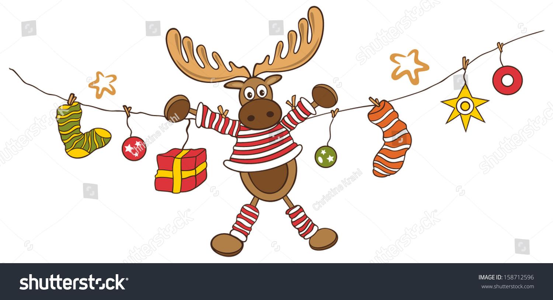colorful moose funny christmas decoration - Christmas Moose