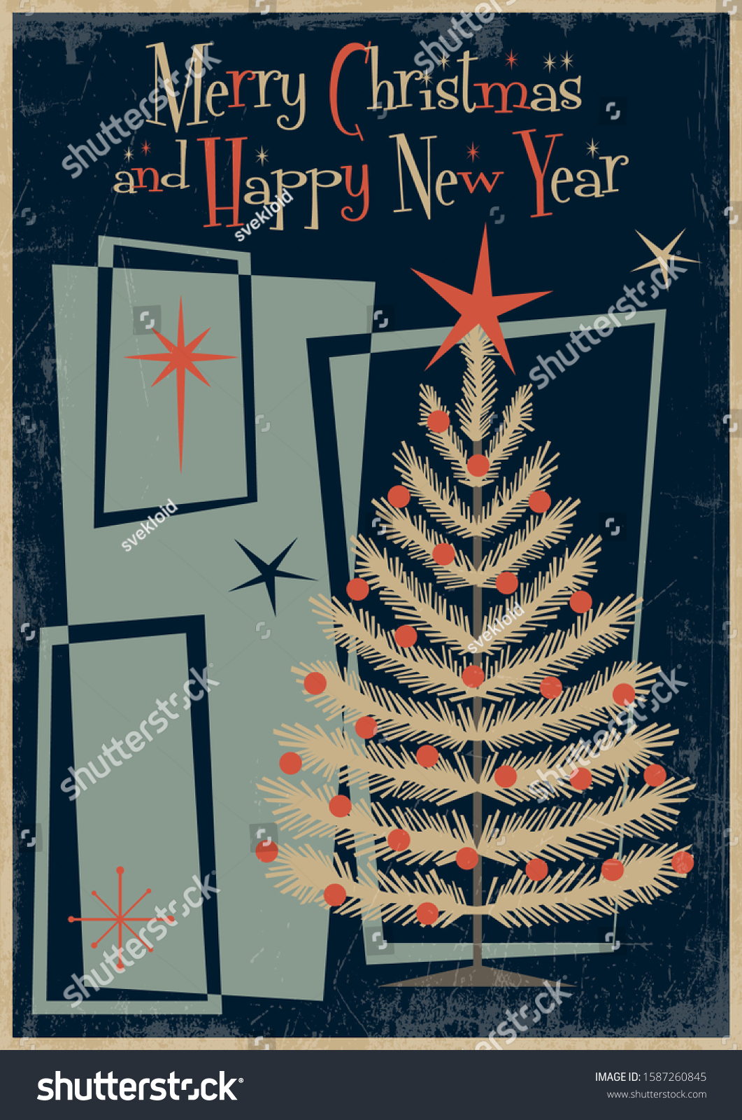 Merry Christmas Happy New Year Card Stock Vector Royalty Free 1587260845